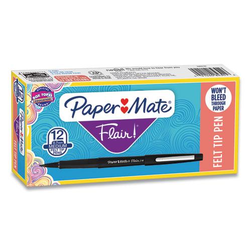 Paper Mate® Point Guard Flair Stick Porous Point Pen, Medium 0.7mm, Black Ink/Barrel, Dozen