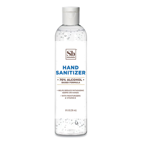 Hand Sanitizer, 8 oz Bottle with Dispensing Cap, Unscented, 24/Carton
