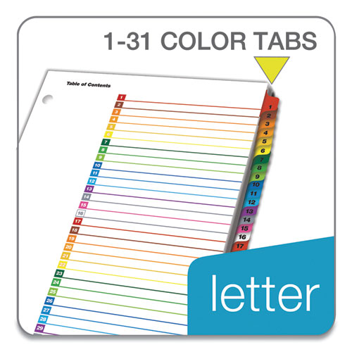 OneStep Printable Table of Contents and Dividers, 31-Tab, 1 to 31, 11 x 8.5, White, 1 Set