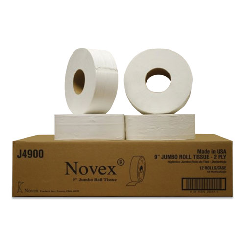 9 Jumbo Roll Bath Tissue, Septic Safe, 2-Ply, White, 3.3 x 750 ft, 12 Rolls/Carton