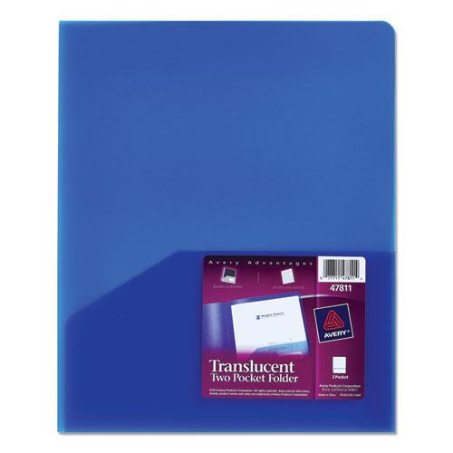 Plastic Two-Pocket Folder, 20-Sheet Capacity, Translucent Blue