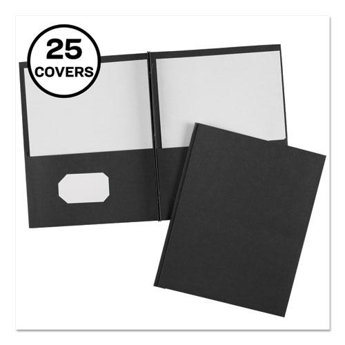 """Two-Pocket Folder, Prong Fastener, Letter, 1/2"""" Capacity, Black, 25/Box"""
