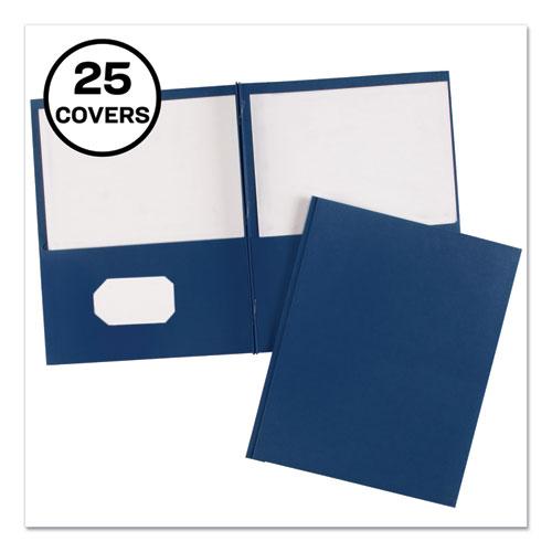 """Two-Pocket Folder, Prong Fastener, Letter, 1/2"""" Capacity, Dark Blue, 25/Box"""