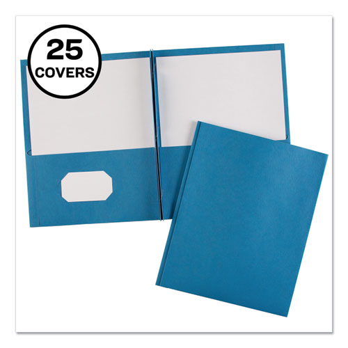 """Two-Pocket Folder, Prong Fastener, Letter, 1/2"""" Capacity, Light Blue, 25/Box"""