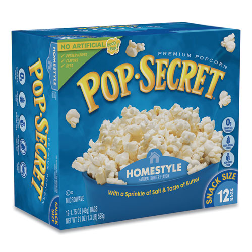 Microwave Popcorn, Homestyle, 1.2 oz Bags, 12/Box