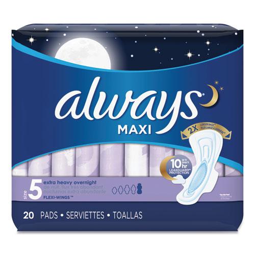 Always® Maxi Pads, Extra Heavy Overnight, 20/Pack, 6 Packs/Carton