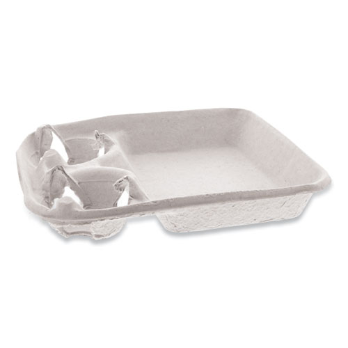 EarthChoice Two-Cup Carrier with Food Tray, 8-24 oz, Two Cups, 200/Carton
