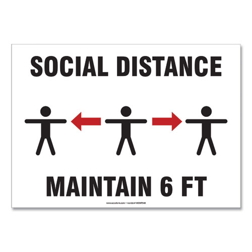 Social Distance Signs, Wall, 14 x 10, Social Distance Maintain 6 ft, 3 Humans/Arrows, White, 10/Pack