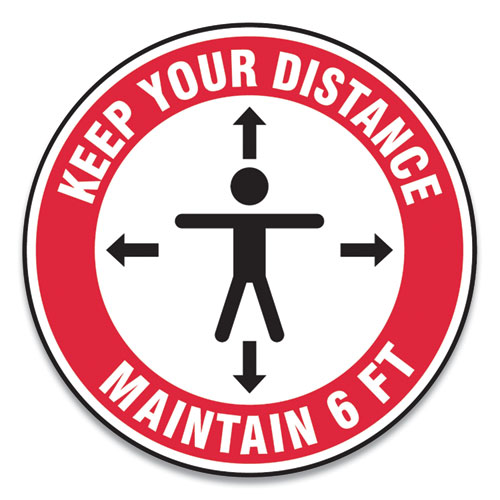 """Accuform® Slip-Gard Social Distance Floor Signs, 12"""" Circle, """"Keep Your Distance Maintain 6 ft"""", Human/Arrows, Red/White, 25/Pack"""