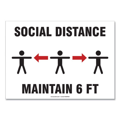 Social Distance Signs, Wall, 10 x 7, Social Distance Maintain 6 ft, 3 Humans/Arrows, White, 10/Pack
