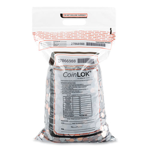 CoinLOK™ Coin Bag ,14.5 x 25, 5 mil Thick, Plastic, Clear, 50/Pack