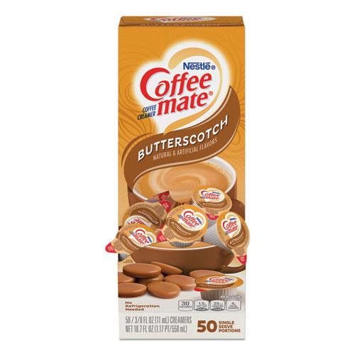 Liquid Coffee Creamer, Butterscotch, 0.38 oz Mini Cups, 50 Cups/Box