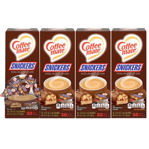 Liquid Coffee Creamer, Snickers, 0.38 oz Mini Cups, 200 Cups/Carton