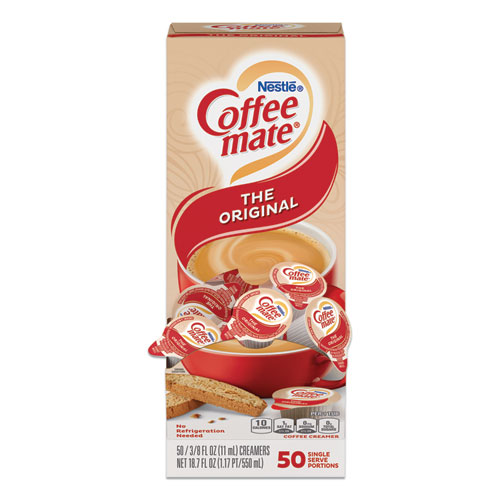 Liquid Coffee Creamer, Original, 0.38 oz Mini Cups, 50/Box