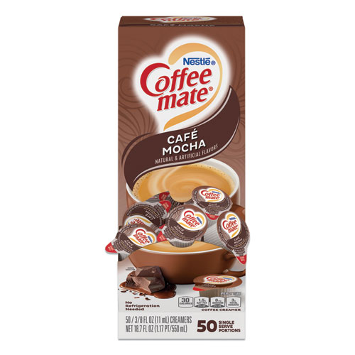 Liquid Coffee Creamer, Cafe Mocha, 0.38 oz Mini Cups, 50/Box
