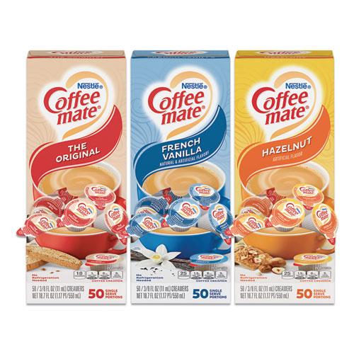 Liquid Coffee Creamer, French Vanilla/Hazelnut/Original, 0.38 oz Mini Cups, 150 Cups/Carton