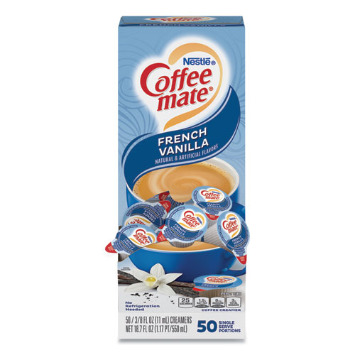 Liquid Coffee Creamer, French Vanilla, 0.38 oz Mini Cups, 50/Box