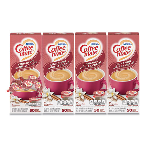 Liquid Coffee Creamer, Cinnamon Vanilla, 0.38 oz Mini Cups, 50/Box, 4 Boxes/Carton, 200 Total/Carton