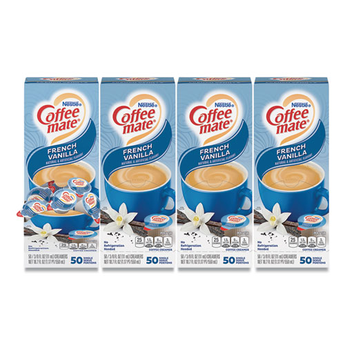 Liquid Coffee Creamer, French Vanilla, 0.38 oz Mini Cups, 50/Box, 4 Boxes/Carton, 200 Total/Carton
