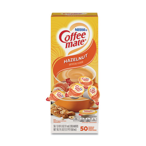 Liquid Coffee Creamer, Hazelnut, 0.38 oz Mini Cups, 50/Box
