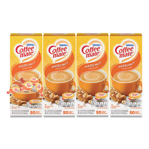 Liquid Coffee Creamer, Hazelnut, 0.38 oz Mini Cups, 50/Box, 4 Boxes/Carton, 200 Total/Carton