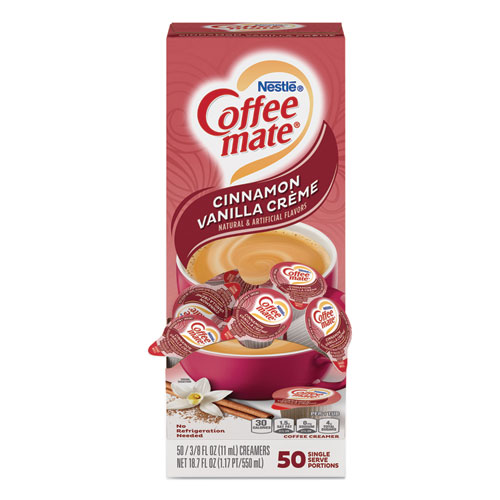 Liquid Coffee Creamer, Cinnamon Vanilla, 0.38 oz Mini Cups, 50/Box
