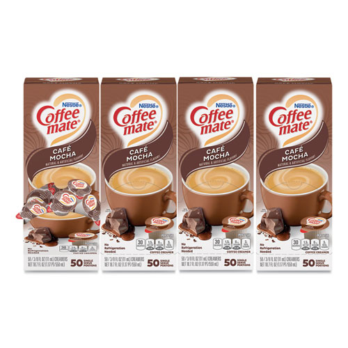Liquid Coffee Creamer, Cafe Mocha, 0.38 oz Mini Cups, 50/Box, 4 Boxes/Carton, 200 Total/Carton