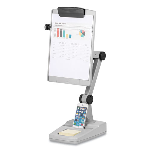 Flex Arm Weighted Base Copyholder, Plastic, 150 Sheet Capacity, Platinum