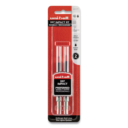 Refill for uni-ball Gel 207 IMPACT RT Roller Ball Pens, Bold Point, Black Ink, 2/Pack