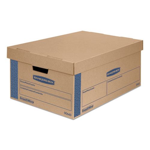 SmoothMove Prime Moving and Storage Boxes, Large, Half Slotted Container (HSC), 24 x 15 x 10, Brown Kraft/Blue, 8/Carton