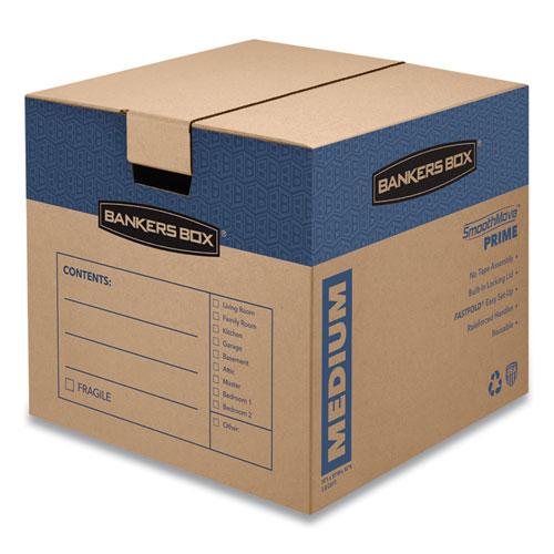 SmoothMove Prime Moving/Storage Boxes, Medium, Regular Slotted Container (RSC), 18 x 18 x 16, Brown Kraft/Blue, 8/Carton