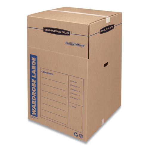 SmoothMove Wardrobe Box, Regular Slotted Container (RSC), 24 x 24 x 40, Brown Kraft/Blue, 3/Carton