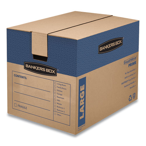 SmoothMove Prime Moving and Storage Boxes, Regular Slotted Container (RSC), 24 x 18 x 18, Brown Kraft/Blue, 6/Carton