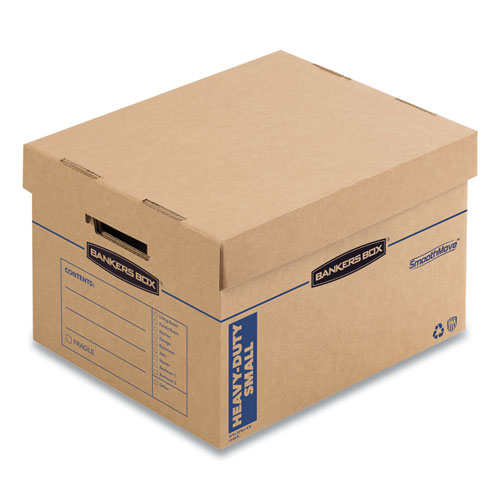 SmoothMove Maximum Strength Moving Boxes, Small, Half Slotted Container (HSC), 15 x 15 x 12, Brown Kraft/Blue, 8/Pack