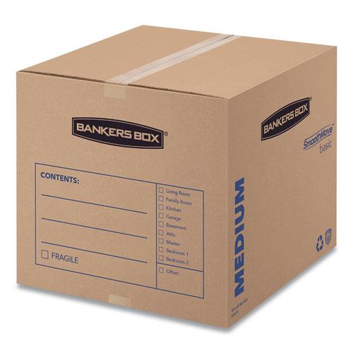 SmoothMove Basic Moving Boxes, Medium, Regular Slotted Container (RSC), 18 x 18 x 16, Brown Kraft/Blue, 20/Bundle