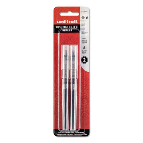 Refill for uni-ball Vision Elite Roller Ball Pens, Bold Point, Black Ink, 2/Pack