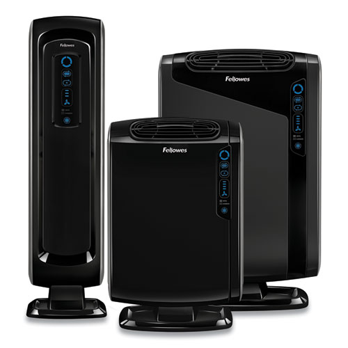 Fellowes® HEPA and Carbon Filtration Air Purifiers, 100-200 sq ft Room Capacity, Black
