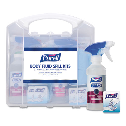 """PURELL® Body Fluid Spill Kit, 4.5"""" x 11.88"""" x 11.5"""", One Clamshell Case with 2 Single Use Refills/Carton"""