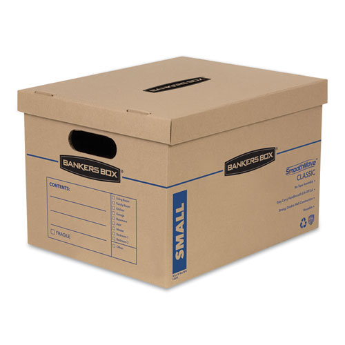 SmoothMove Classic Moving  Storage Boxes, Small, Half Slotted Container (HSC), 15 x 12 x 10, Brown Kraft/Blue, 15/Carton
