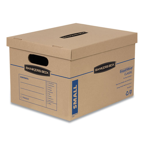 SmoothMove Classic Moving  Storage Boxes, Small, Half Slotted Container (HSC), 15 x 12 x 10, Brown Kraft/Blue, 20/Carton