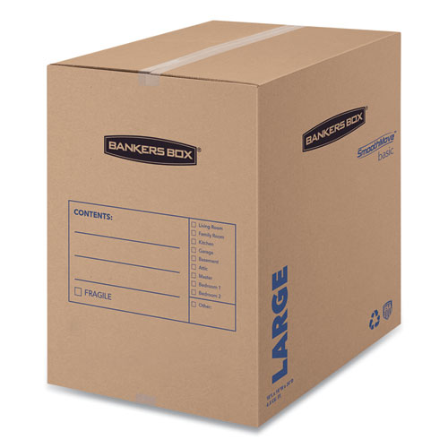 SmoothMove Basic Moving Boxes, Large, Regular Slotted Container (RSC), 18 x 18 x 24, Brown Kraft/Blue, 15/Carton