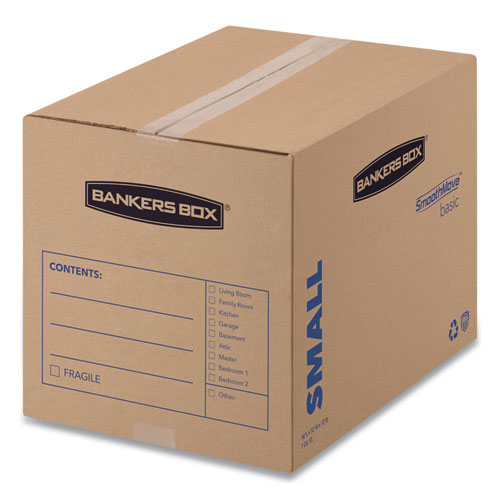 SmoothMove Basic Moving Boxes, Small, Regular Slotted Container (RSC), 16 x 12 x 12, Brown Kraft/Blue, 25/Bundle