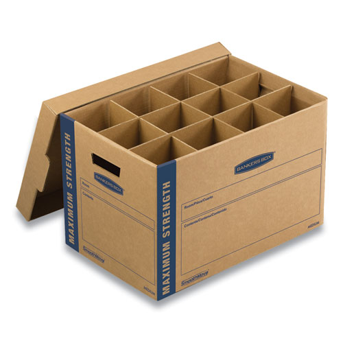 SmoothMove Kitchen Moving Kit, Medium, Half Slotted Container (HSC), 18.5 x 12.25 x 12, Brown Kraft/Blue