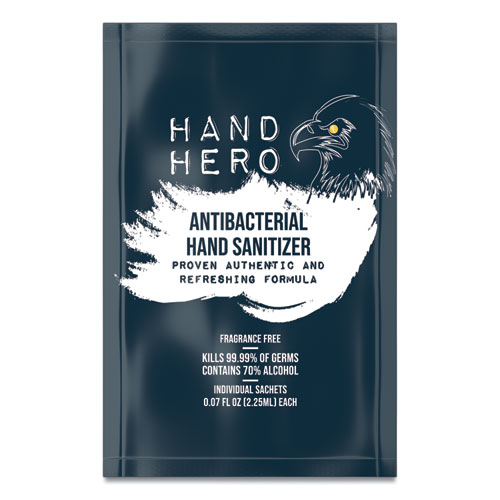Antibacterial Hand Sanitizer Sachet, 0.07 oz, 50/Box, 48 Boxes/Carton