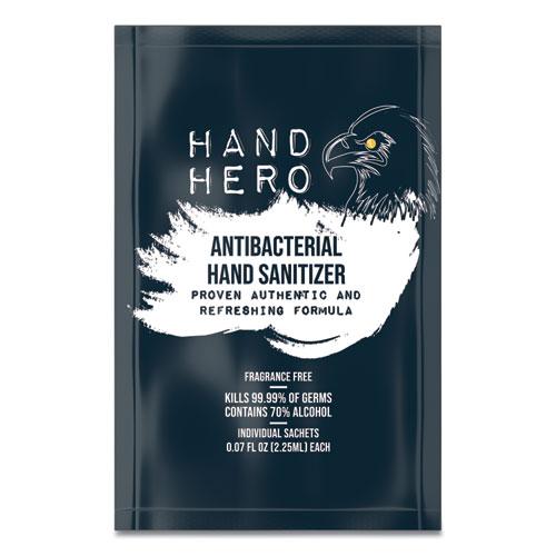 HAND HERO Antibacterial Sachet Gel Hand Sanitizer, 0.07 oz, 50/Box