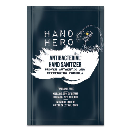 HAND HERO Antibacterial Sachet Gel Hand Sanitizer, 0.07 oz, 50/Box