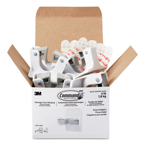 Broom Gripper, 3.12 x 1.85 x 3.34, White/Gray, 6 Grippers/16 Strips/Pack