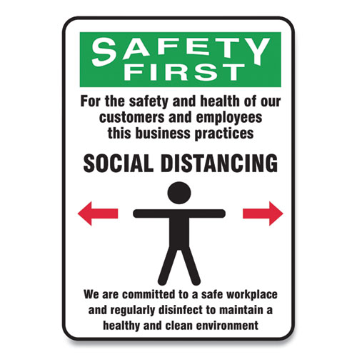 Social Distance Signs, Wall, 10 x 7, Customers and Employees Distancing Clean Environment, Humans/Arrows, Green/White, 10/Pk