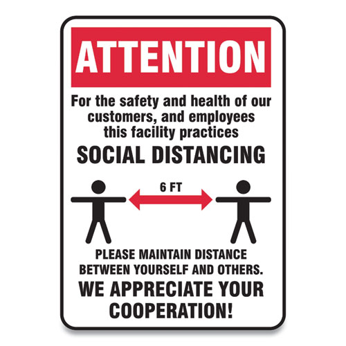 Social Distance Signs, Wall, 10 x 7, Customers and Employees Distancing, Humans/Arrows, Red/White, 10/Pack