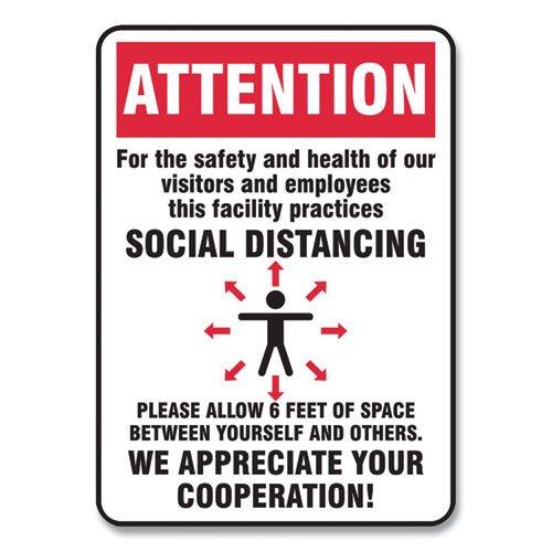 Social Distance Signs, Wall, 10 x 7, Visitors and Employees Distancing, Humans/Arrows, Red/White, 10/Pack
